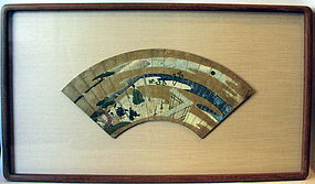 Very Old Japanese Painted Fan, Tale of Genji Mid Edo