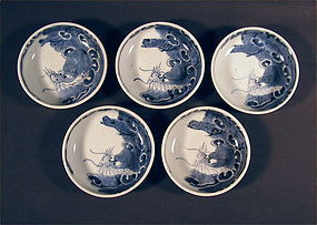 Japanese Sometsuke Ko Imari Bowl set of 5 pcs, Late 18c