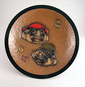Fine Japanese Kamakura-bori Kashi Bowl Ebisu & Daikokuj
