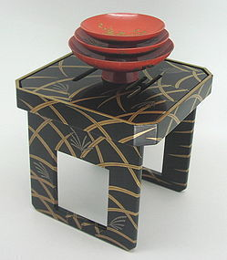 Beautiful Fine Japanese Makie Sake Cups and Stand Set