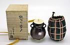 Lovely Japanese Bizen Yaki Chaire by Matsuzaka Eiko Tozan