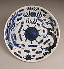 Japanese Ko Imari Porcelain BW Plate, Dragon/Ho-o Bird 19c