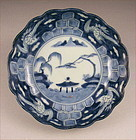 Attractive Japanese Sometsuke Ko Imari Bowl w/Crane 19c