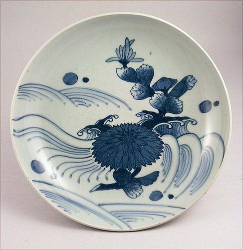 Great Japanese Ko Imari Sometsuke Charger Bowl Kikusui 19c