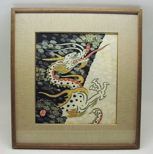 Striking Japanese Framed Senshoku Shikishi, Dragon by Minagawa Gekka