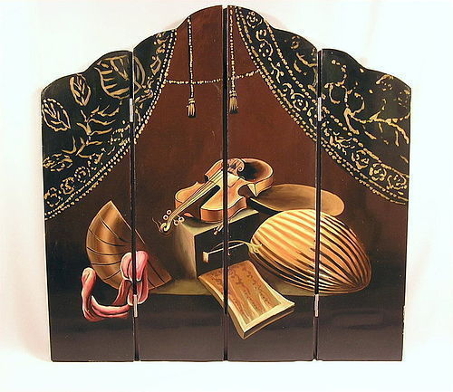 Japanese Lacquer 4 panel screen
