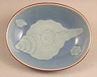 Beautiful Rare Japanese Porcelain Blue Dish by Seifu Yohei III