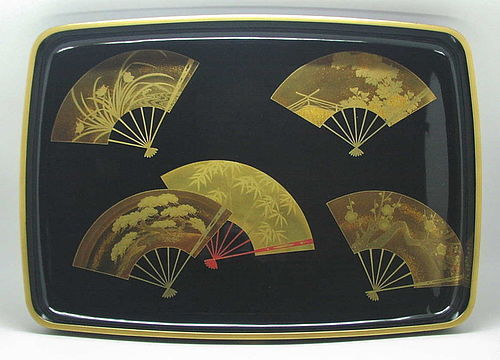 Beautiful Japanese Makie Hirobutabon Tray with Fan Design by Zohiko