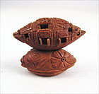 Amazing Detail Chinese Carving Olive Pit Boat by Zhan Gusheng 19c