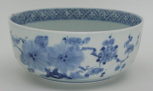 Fine Japanese Ko Imari Porcelain Blue and White Bowl, 18c