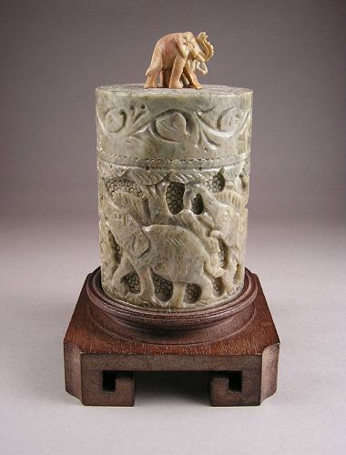 Attractive Soap Stone Covered Box with Open Elephant Design, w/stand