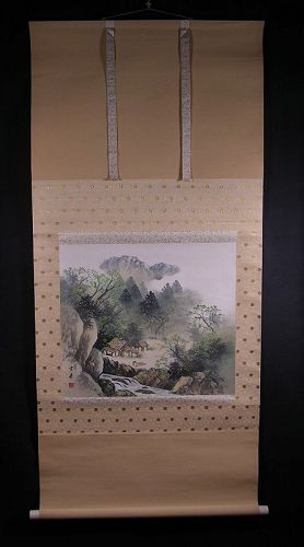 Attractive Japanese Scroll painting, Landscape by Gendo