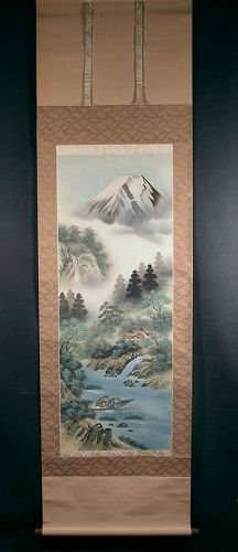 Attractive Japanese Scroll painting, landscape by Keizan