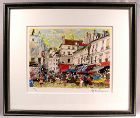 Lovely Original Lithograph by Yukio Kodama, Morning Market in Paris