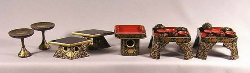 Fine Japanese Miniature Lacquer Stands and Ozen Set