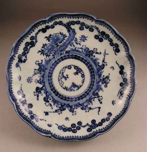 Attractive Japanese Blue and White Imari Plate Late 19c