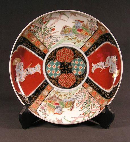 Beautiful Rare Japanese Ko Imari Charger w/Genroku Figure 18c