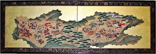 Very attractive Japanese Two Panel Screen, Genpei Battle Scene 19c