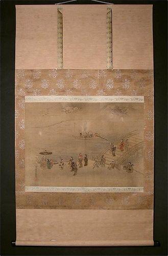 Fine Ukiyoe Scroll Painting by Hishikawa Moroshige Genroku Period