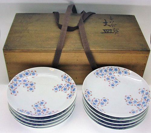 Fine Japanese Porcelain Plate Set by Sefu Yohei III Nabeshima Style
