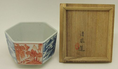 Pretty Japanese Hexagonal Porcelain Chawan by Seifu Yohei IV