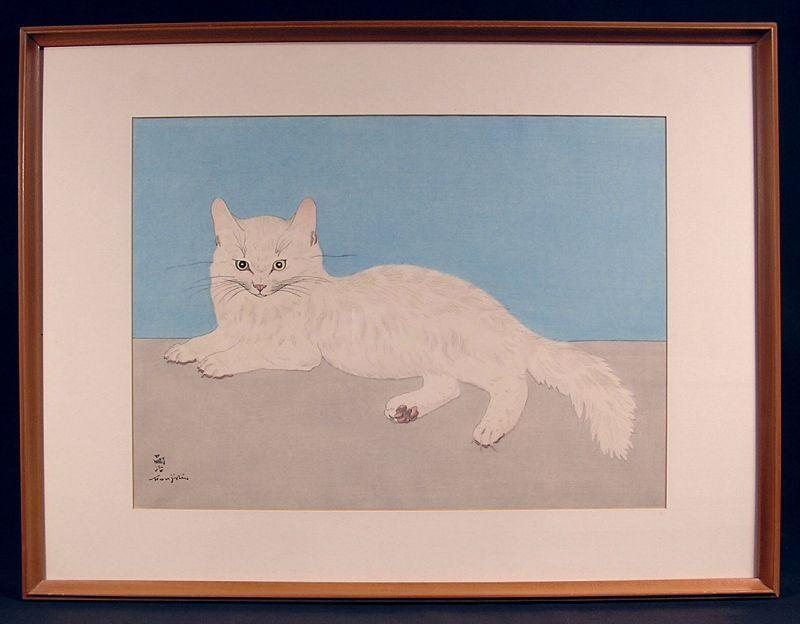 Very Rare Japanese Woodblock Print, Cat, by Leonard Foujita