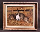 Amazingly Fine Oil Painting by Giovanni Sanvitale, 3 Kitten
