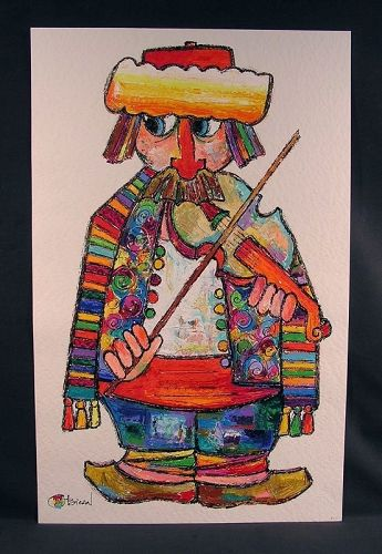Very Attractive Original Acrylic Painting by Obican, Violinist, Signed