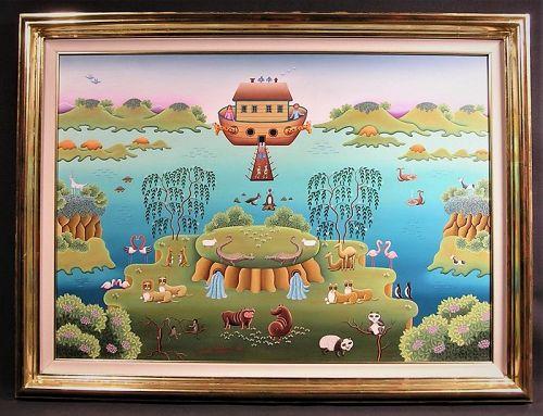 Original Oil Painting by Gisela Fabian, Noah's Ark, 1987