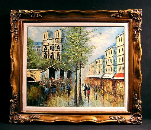 Original Oil Painting by Edwin Gords, Notre Dame and City Scape