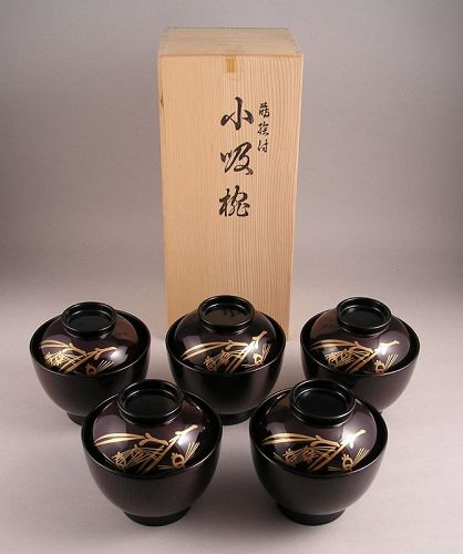 Attractive Fine Japanese Vintage Makie Covered Bowl Set of 5 pcs