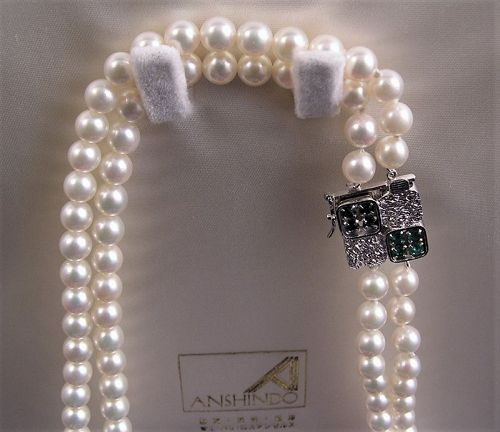 Additional Photos for Japanese Pearl Necklace w/Sapphire/Emerald
