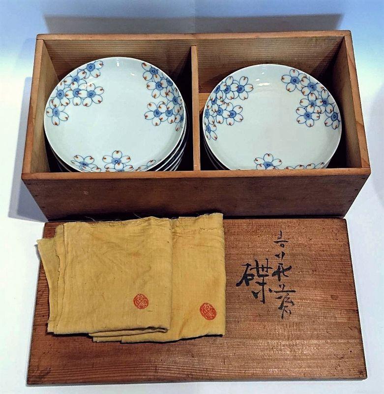 Japanese Porcelain Plate Set by Seifu Yohei III with Tomobako