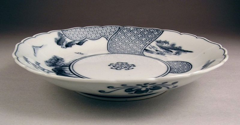 Very Attractive BW Hirado Porcelain Plate Sansui Design