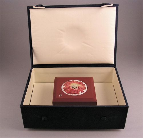 Very Fine Japanese Cloisonne Medallion w/Wooden Box by Shinya Okamoto