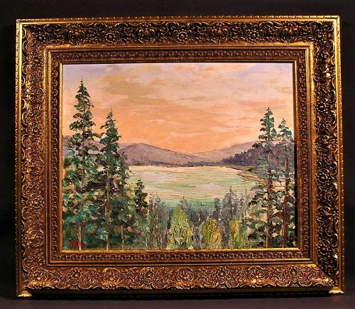 Original Oil Painting Landscape with fine Gold leaf frame Signed