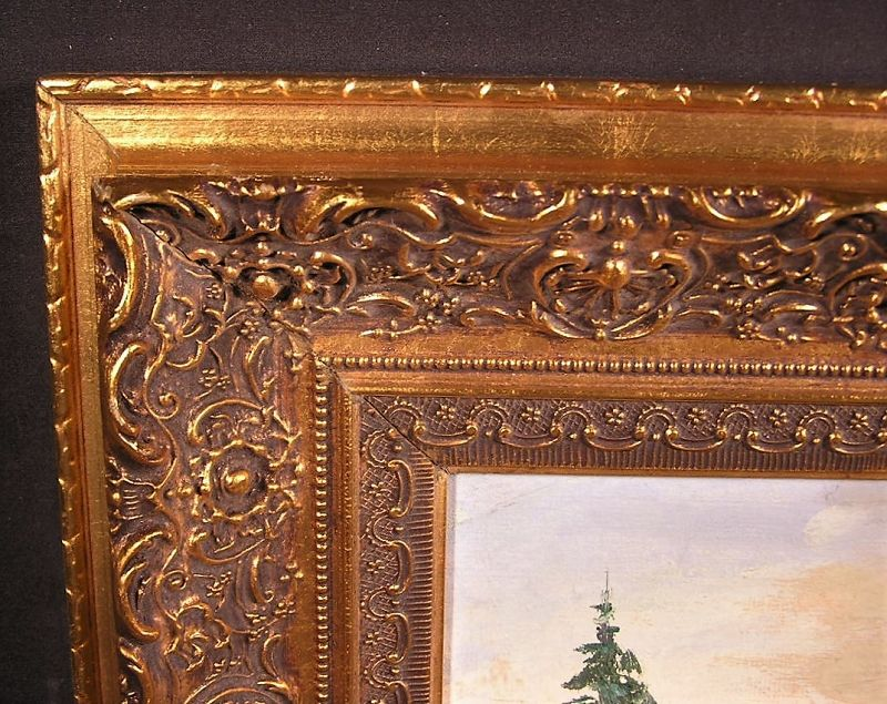 Original Oil Painting Landscape with fine Gold leaf frame Signed