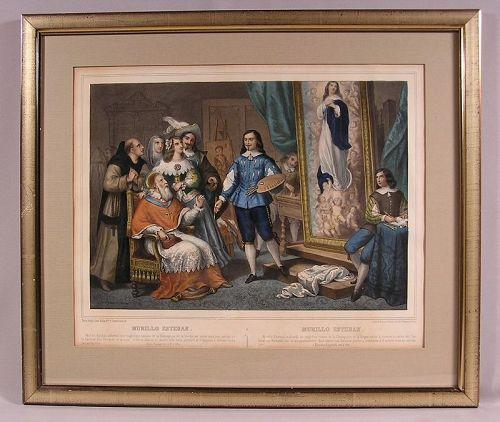 Rare Antique Lithograph by Napoleon Thomas Murillo
