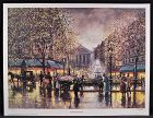 Lithograph by Josef Sambataro, The Fountain in the Square, L/ED