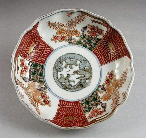 Beautiful Ko Imari Bowl w/Kiri and Dragon design 19c