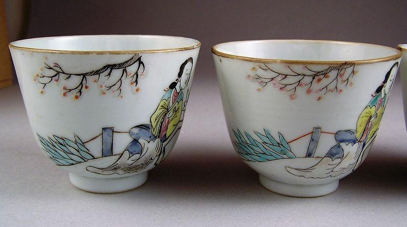 Very Rare Beautiful Set of 4 pcs Chinese Tongzhi Porcelain Cups