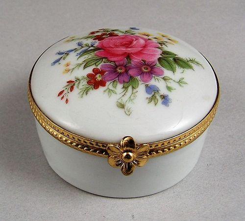 Limoges Trinket Box with Lovely Flowers Design, Vintage never used