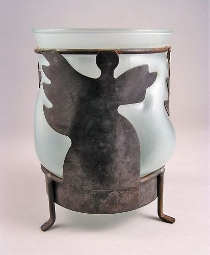 Unique Handcrafted Art work of Iron Angels and Hand blown Glass Vase