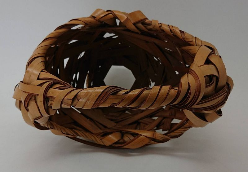 Finely Woven Japanese Bamboo Flower Vase Basket from Meiji