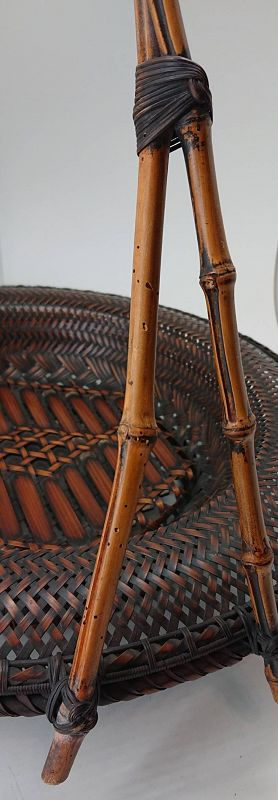 Exquisitely Woven Japanese Antique Bamboo Basket