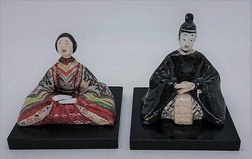 Japanese Oribe Hina Dolls w/Tomobako Meiji