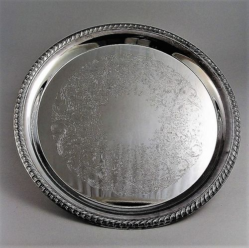 """William Rogers Silver Plated Round Serving Tray 12 1/4"""""""