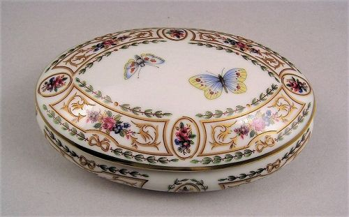 Fine Fernch Limoges Porcelain Trinket Box with Butterflies and Flowers