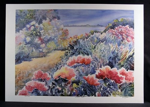 Mixed Media Lithograph by Elyse Campus Cohen, Garden Path