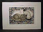 Fine etching by D. Lundquist, Cat and Pillows